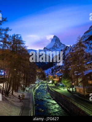 Zermatt Ski Resort and Matterhorn Peak in the Evening, Switzerland - Stock Photo