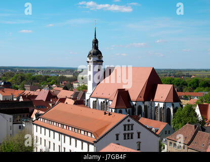 Protestant city church St. Marien, Luther Trail Torgau, Saxony, Germany - Stock Photo