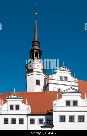 Castle Schloss Hartenfels, Luther Trail, Torgau, Saxony, Germany - Stock Photo