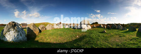 grave burial stone age history emperor king landscape scenery countryside - Stock Photo