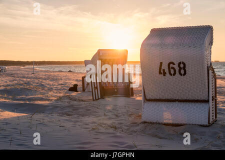Beach chairs on the beach of Prerow, Baltic Sea, Darss, Mecklenburg-Vorpommern, Germany - Stock Photo