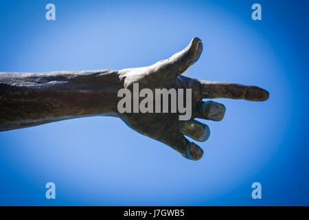 Bronze statue pointing finger of Bessenyei Ferenc - Stock Photo