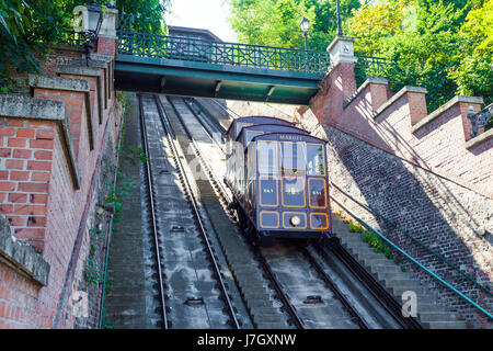 BUDAPEST, HUNGARY - AUGUST 2: Funicular tram train going to Buda Castle, Budapest, on AUGUST 2, 2013. - Stock Photo