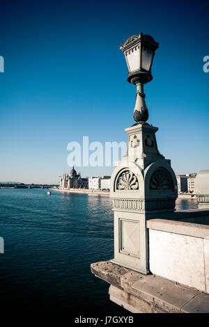 Hungarian Parliament Building view from Chain Bridge, Budapest, Hungary - Stock Photo