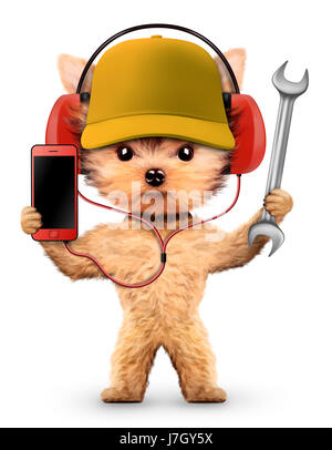 Funny dog in basebal cap with wrench isolated on white background. Constructor and handyman concept. 3D illustration - Stock Photo