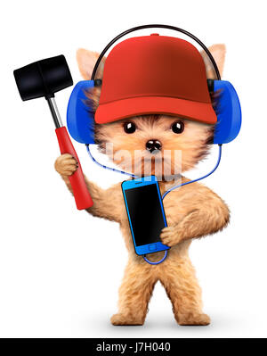 Funny dog in basebal cap with hammer isolated on white background. Constructor and handyman concept. 3D illustration - Stock Photo
