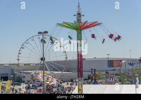 Carnival rides at the Houston Livestock Show and Rodeo - Stock Photo