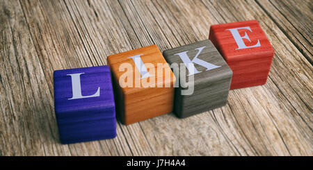 Word Like on wooden blocks and wooden background. 3d illustration - Stock Photo