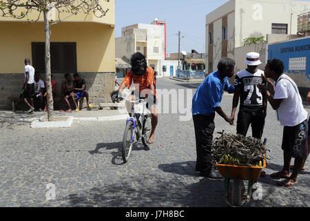 Man in gorilla suit rides a bike - Stock Photo