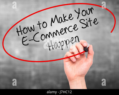 Man Hand writing How to Make Your E-Commerce Site Happen with black marker on visual screen. Isolated on background. - Stock Photo