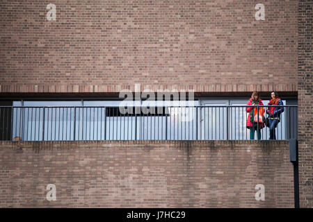 LONDON, UK - APRIL 22, 2017: exterior view of tate modern gallery with people - Stock Photo