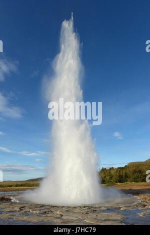 Strokkur Geysir, Haukadalur Geothermal area, Arnessysla, South West Iceland, Iceland. - Stock Photo