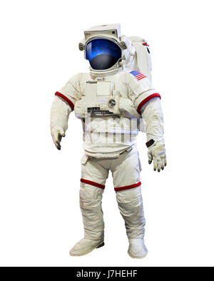nasa astronaut pressure suit with galaxi space reflection on helmet mask isolated white background use for education - Stock Photo