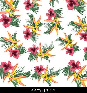 tropical concept with beautiful and colorful flowers pattern - Stock Photo
