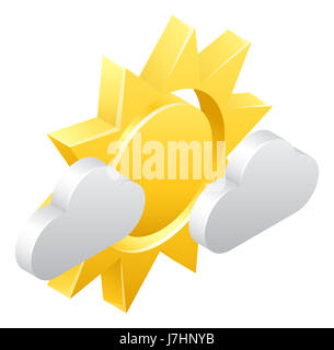 A 3d sun and clouds isometric weather icon concept - Stock Photo