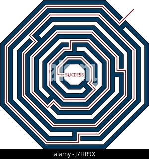 Vector illustration of a octagon maze with the solution as a red line to success. Labyrinth isolated on white background. - Stock Photo
