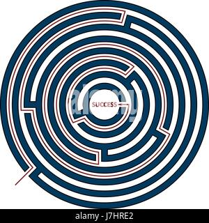 Vector illustration of round maze with the solution as a red line to success. Circle labyrinth isolated on white - Stock Photo