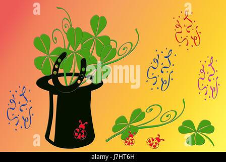 clover horseshoe cloverleaf shamrocks lucky luck cylinder symbolic graphic - Stock Photo