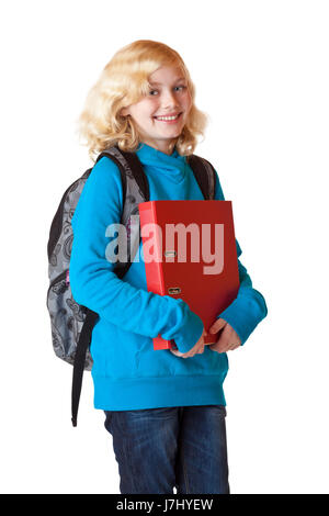 happy schoolgirl with backpack and folder - Stock Photo