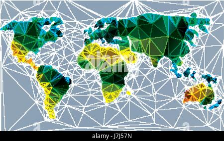 Colored world map icons stock vector art illustration vector triangle world map vector illustration stylize world map technology colored concept stock photo gumiabroncs Image collections