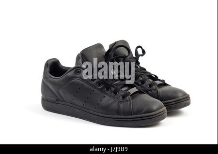 sport sports new black swarthy jetblack deep black shoes basket tennis brand - Stock Photo