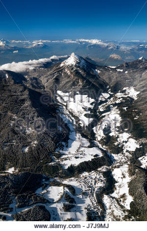 Aerial view over Saint Pierre and Saint Hugues de Chartreuse in the Chartreuse mountain range and natural park, - Stock Photo