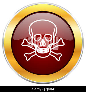 Skull red web icon with golden border isolated on white background. Round glossy button. - Stock Photo