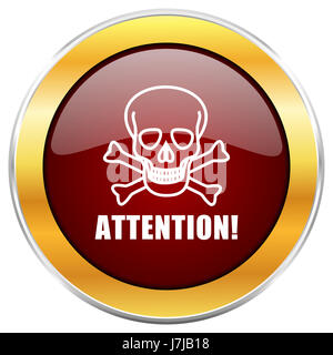 Attention skull red web icon with golden border isolated on white background. Round glossy button. - Stock Photo