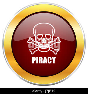 Piracy skull red web icon with golden border isolated on white background. Round glossy button.