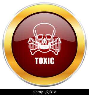 Toxic skull red web icon with golden border isolated on white background. Round glossy button.