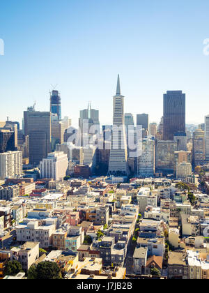 The sensational skyline of downtown San Francisco, California as seen from atop Coit Tower on Telegraph Hill. - Stock Photo