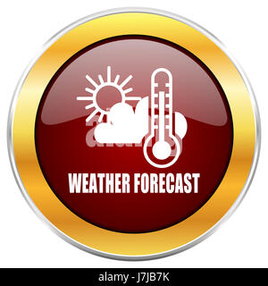 Weather forecast red web icon with golden border isolated on white background. Round glossy button. - Stock Photo