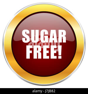 Sugar free red web icon with golden border isolated on white background. Round glossy button. - Stock Photo
