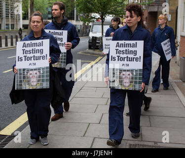 To mark World Day for Animals in Laboratories (24 April), PETA members gather outside the Home Office wearing monkey - Stock Photo