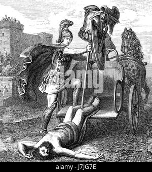 Triumphant Achilles dragging Hector's lifeless body in front of the Gates of Troy, Trojan War - Stock Photo