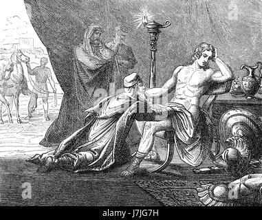 Priam asking Achilles about the corpse of his son Hektor, Trojan War - Stock Photo