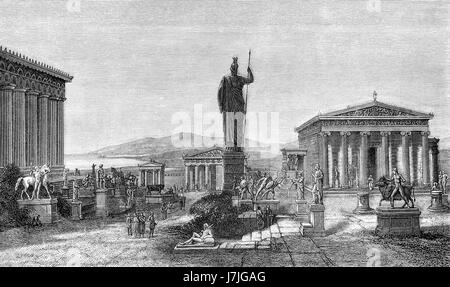Reconstruction of the Acropolis of Athens, Greece, Europe Stock Photo