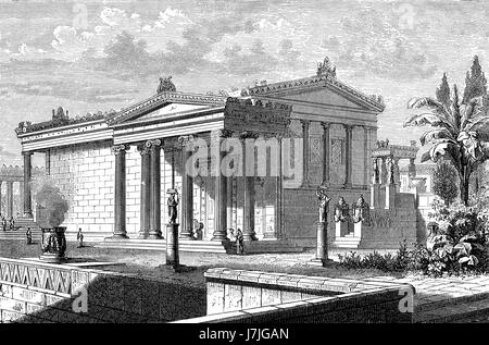 Reconstruction of the Erechtheion or Erechtheum, an ancient Greek temple on the north side of the Acropolis of Athens - Stock Photo