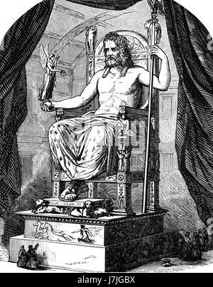 Zeus, king of the gods, ancient Greek religion - Stock Photo