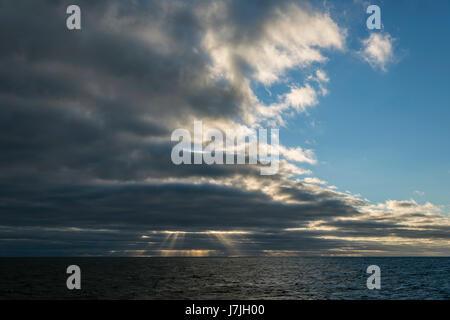 Clouds over Ocean, Jardines de la Reina, Cuba - Stock Photo