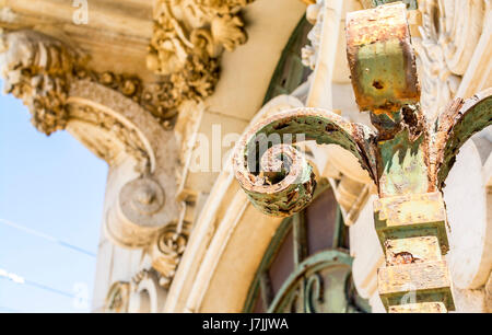 Hundreds years old arch in Lisbon, Portugal and blue sky on sunny day - Stock Photo