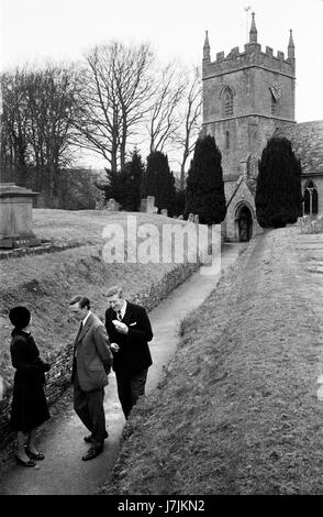 Village life 1975 UK St Peters Church of Saint Peter after Sunday morning service 1970s Britain UK. HOMER SYKES - Stock Photo