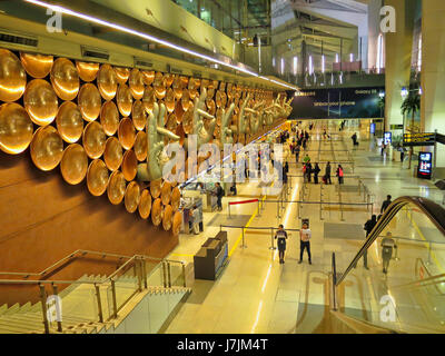 Arrival Hall at Indira Gandhi International Airport in New Delhi,India,Asia - Stock Photo