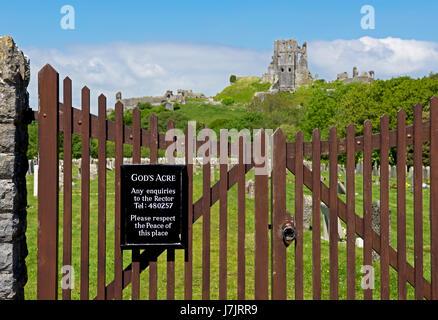 Corfe Castle, Dorset, England UK - Stock Photo