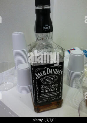A bottle of Jack Daniel's Old No. 7 Sour Mash Tennessee whiskey at a party in New York on Wednesday, May 17, 2017. - Stock Photo