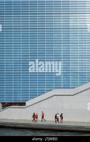 Berlin, Germany - may 23, 2017: Glass facade of the Marie Elisabeth Lueders House, part of the German Chancellery building Complex in Berlin.