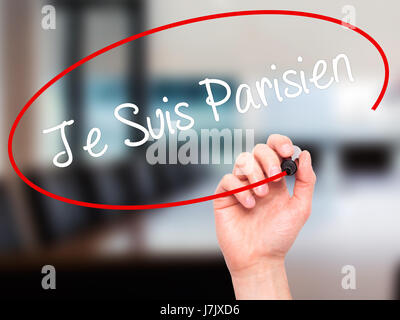 Man Hand writing Je Suis Parisien with black marker on visual screen. Isolated on office. Stock Photo - Stock Photo