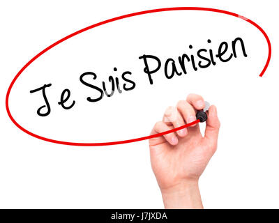Man Hand writing Je Suis Parisien with black marker on visual screen. Isolated on white. Stock Photo - Stock Photo