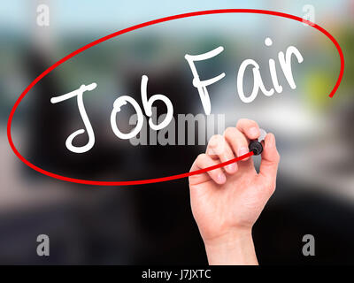 Man Hand writing Job Fair with black marker on visual screen. Isolated on office. Business, technology, internet - Stock Photo
