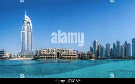 Panorama of downtown Dubai, Souk Al Bahar in front of Burj Khalifa on in Dubai, UAE, Middle East. - Stock Photo